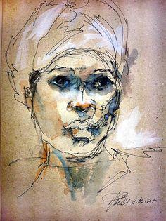 Image result for pen and ink wash self portrait