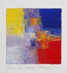 "July 4, 2018 9 cm x 9 cm (app. 4"" x 4"") oil on canvas © 2018 Hiroshi Matsumoto www.hiroshimatsumoto.com"
