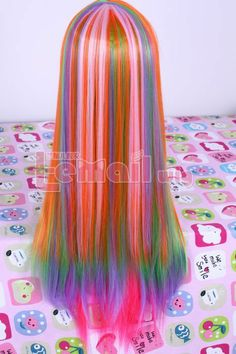 New!!80 long Rainbow straight cosplay party wig CB44