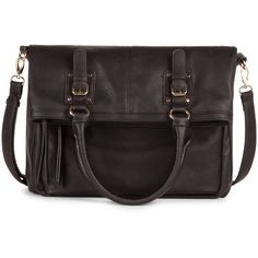 Sole Society Charlie Vegan Leather Foldover Messenger ($60) ❤ liked on Polyvore featuring bags, messenger bags, black, foldover tote, zip top tote, zip top messenger bag and tote bag