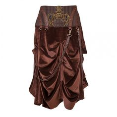 Manja Steampunk Low Waist Skirt for Women   Vintage Goth   You will not be able to look away once you lay your eyes on this sensational skirt! It creates a dazzling look with its fine Velvet fabric and Brocade waistband that comes with pretty embroidery. Finally, it completes the look with a sensational Steam-punk inspired design.