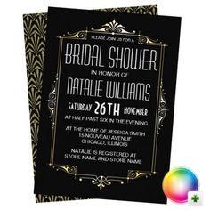 art deco vintage 1920s bridal shower invitations