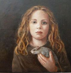 Portrait of Girl Holding a Rat -- by Ellis Tertoolen (b.1951, Dutch)