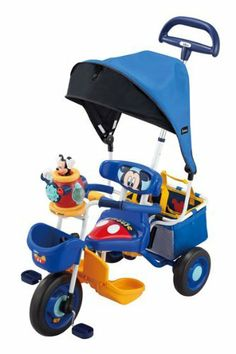 Mickey Mouse Blue Eye Basic Pop'n Cargo Tricycle by Ides. $329.73. Popular Mickey Mouse tricycle cargo Pop'n, special version with a sunshade.. Folding sunshade can also authentic. Is easy to protect your children from strong sunshine cut UV99%, is attached to the tricycle, or removal. (2) pop-up buzzer. ? When lowering the lever in the shape of a hand, Mickey fly out while rotating along with the sound effects and lights. ? When you operate the switch in the back, or Mickey ...