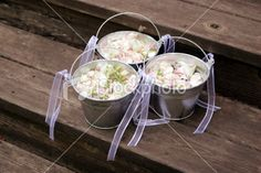 tin pails for flower girls | Tin Buckets Filled with Petals, for the Flower Girls | Stock Photo ...