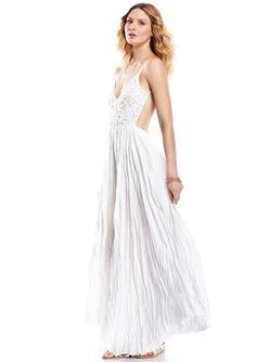 OLIVACEOUS White Maxi Dress