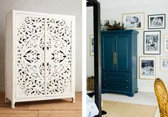 7 Ways to Hide Your TV, Laurel & Wolf, Carved or coffered, large, beautiful armoires add traditional charm to any space.