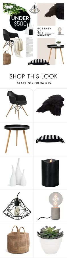 """""""Decorate a Living Room for Under $500"""" by magdafunk ❤ liked on Polyvore featuring interior, interiors, interior design, home, home decor, interior decorating, Cuero, Mitchell Gold + Bob Williams, Hedi Slimane and Crystal Art"""