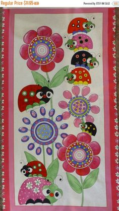 "YEAR END SALE Lazy Little Ladybugs,Cotton Fabric, Quilt, Panel, 24"" x 44"", by Quilting Treasures, Fast Shipping Ch204"