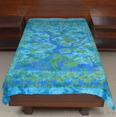 Bed Cover Sky Blue Tree Of Life Printed Indian Bed Sheet Single Cotton IWUS BS63 #Handmade
