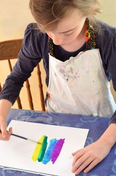 Easy Art For Kids - Experimenting with Water Colours - picklebums.com   I'm going to do this with leaf shapes and fall colors!