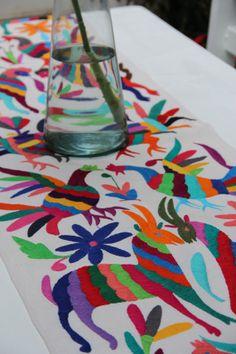 Multi Colored Otomi Runner by CasaOtomi on Etsy,     Mexico, Tenango, mexican wedding, textile, mexican suzani, suzani, embroidery, hand embroidered, otomi, www.casaotomi.com, otomi, table runner, fiber art, mexican, handmade, original, authetic, textile ,