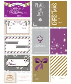 Love these bold colors and patterns! Free printable Christmas holiday gift tags. Visit the blog for many more!