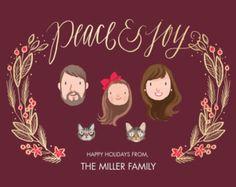 Custom Illustrated Family Portrait Christmas by kathrynselbert