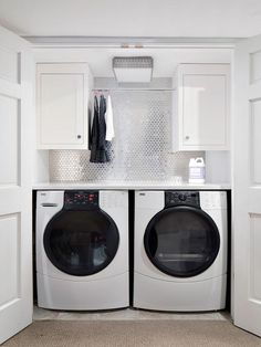 Laundry Room Closet - Design photos, ideas and inspiration. Amazing gallery of interior design and decorating ideas of Laundry Room Closet in closets, laundry/mudrooms by elite interior designers. Tiny Laundry Rooms, Laundry Room Remodel, Laundry Room Organization, Laundry Room Design, Laundry In Bathroom, Laundry Area, Mud Rooms, Hidden Laundry, Basement Laundry