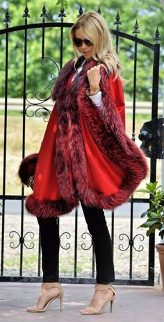 fox furs - cashmere silver fox fur cape