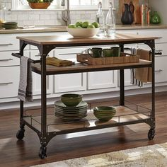 Shop for Coaster Kitchen Cart, and other Accessories Storage and Carts at Furniture Plus Inc. in Mesa, AZ. Antique bronze kitchen cart with three shelves and caster wheels that lock in place eta: end of January/early February. Coaster Furniture, Kitchen Furniture, Kitchen Dining, Kitchen Decor, Dining Rooms, Portable Kitchen Island, Kitchen Island Cart, Kitchen Islands, Industrial Kitchen Island