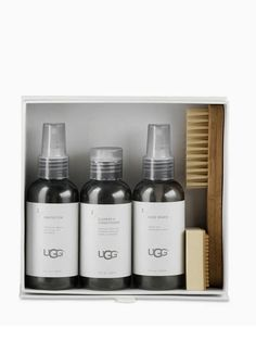 UGG Sheepskin & Suede Care Kit  -4 oz. Cleaner & Conditioner – removes stains and refreshes sheepskin, suede and leather. -4 oz. Shoe Renew – cleans and deodorizes insoles -4 oz. Protector – against rain, snow, dirt and stains -Bamboo handle brush + Scuff eraser.  Cost: $25.00  https://www.enchantressco.com/product/ugg-sheepskin-suede-care-kit-2/