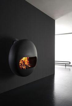 design wall-mounted fireplace (wood-burning open hearth) BUBBLE by Andrea Crosettta Antrax IT Suspended Fireplace, Mounted Fireplace, Stove Fireplace, Wood Fireplace, Modern Fireplace, Fireplace Design, Bioethanol Fireplace, Fireplaces, Wood Stove Modern