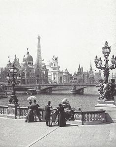 View from Pont Alexandre III onto the International Pavilions at the World's Fair in 1900, Paris