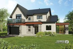 Discover the plan - Azalea from the Drummond House Plans house collection. 3 to 4 bedroom Modern house, master with private balcony, large covered deck, open floor plan, large fireplace. Two Story House Plans, House Plans And More, Cottage Style House Plans, Bedroom House Plans, Contemporary House Plans, Modern House Plans, Contemporary Style, Architecture Renovation, Architecture Art