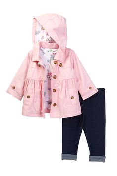 Floral 3-Piece Jacket Set (Baby Girls) by Little Me on @nordstrom_rack