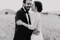 Image by Marcos Sánchez - Laura de Sagazan boho wedding dress with Rachel Simpson Mimosa Bridal Shoes for a destination wedding in Spain with outdoor ceremony & al fresco dining.