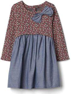 Gap Print mix-fabric bow dress