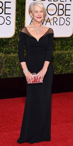 2016 Golden Globes Red Carpet Arrivals - Helen Mirren  - from InStyle.com
