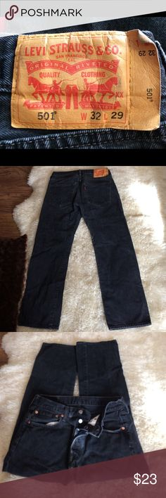 Levi's 501 button fly black W32 L29 red label Levi's 501 button fly black W32 L29 red label. In good worn condition please look at last picture for fading priced accordingly Levi's Jeans Boot Cut