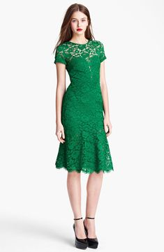 Green Lace fit and flare dress by Burberry Prorsum ~