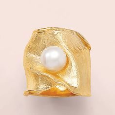 Italian Cultured Pearl Wide Ring in Gold Over Sterling Diamond Ring Cuts, Gold Knot Ring, Braided Ring, Murano Glass Beads, Wide Rings, Cultured Pearls, Gold Beads, Pearl White