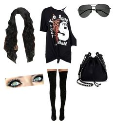 """""""Rocker"""" by blackveilbrides98 on Polyvore featuring Boohoo, Cape Robbin, Yves Saint Laurent and Valentino"""
