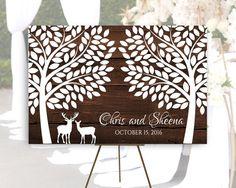 Deer Large wedding guestbook alternative,Rustic Wedding Guest book canvas,Large Wedding Canvas, Rustic Guestbook, 24x36 canvas, 32x48 canvas