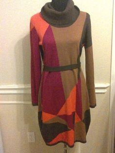 ADRIENNE VITTADINI L brown orange fuschia cowl neck sweater dress belted #AdrienneVittadini #SweaterDress
