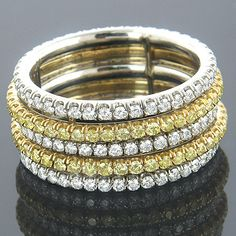 Natural Canary Diamond Eternity Ring