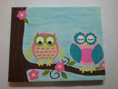 Owl canvas painting for Ellies room