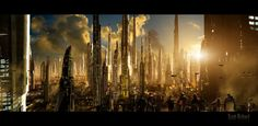 Matte Future City 121611, by rich35211    The richest people in the galaxy live on Corinth, the brightest planet of them all. On the surface, the entire planet is one shining, golden city.