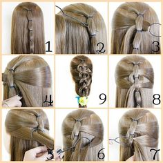 Tie and Pull Advanced Hairstyle Tutorial - Coiffure Sites Cool Braid Hairstyles, Braided Hairstyles Tutorials, Little Girl Hairstyles, Trendy Hairstyles, Easy Hairstyle, Girl Hair Dos, Hair Due, Types Of Braids, Pinterest Hair