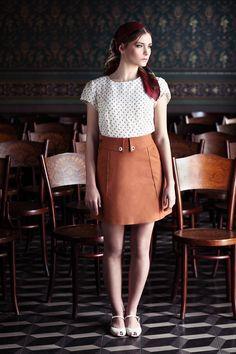 "Short brown denim ""Yula"" skirt.  i love mona.  via etsy."
