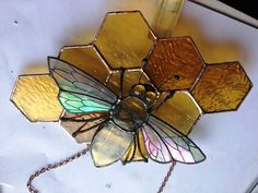Bee on a bit of stained glass