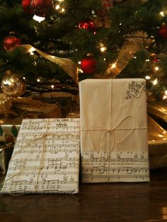 Eco-friendly Christmas wrapping, recycled sheet music and hemp twine! #gift #wrapping #eco #green