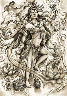 dibujo a lapiz 8 by hcvargass. on dibujo a lapiz 8 by hcvargass.deviant… on dibujo a lapiz 8 by hcvargass. Krishna Tattoo, Kali Tattoo, Shiva Tattoo Design, Buddhist Symbol Tattoos, Hindu Tattoos, Asian Tattoos, Kali Goddess, Goddess Art, Shiva Art