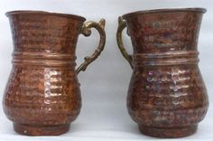 Vintage hammered copper coffee MUGS 2 Moscow by cabinetocurios, $31.50