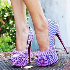 27 Stylish & Trendy Shoes Purple ZigZag Pumps .... these are crazy heels but I like them.
