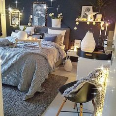 Love! Beautiful gray and navy bedroom! Simple and cozy lighting.
