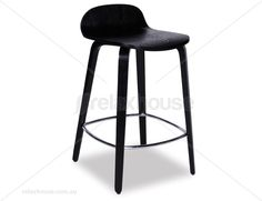 Flip Kitchen Counter Stool - Black Stained American Ash Seat and Legs