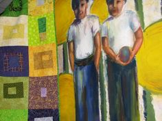 """Mardi Gras Log Cabin and """"Brothers"""" in acrylic"""