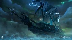 Sea Of Thieves: Ferry Of The Damned by Ninjatic on DeviantArt Caribbean Sea, Pirates Of The Caribbean, Pirate Life, Pirate Art, Pirate Ships, Sea Of Thieves, The Black Cauldron, Star Wars, Ghost Ship
