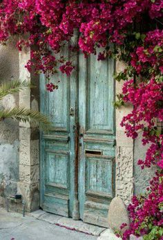 Alte Holztür mit Bougainvillea in Zypern Fototapete Old Wooden Doors, Old Doors, Windows And Doors, Front Doors, Antique Doors, Panel Doors, Entry Doors, Barn Doors, Wooden Door Paint